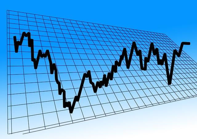 株価チャートがジグザグと上げ下げを繰り返す様子を示した図です。長期的には上がる方向に向かうと考え、投資をしています。