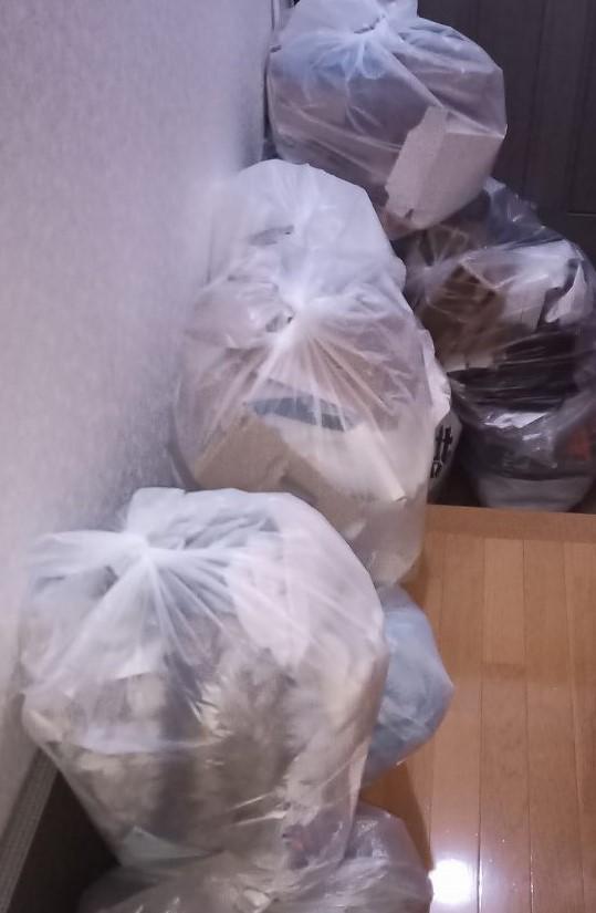ゴミ袋が玄関を埋め尽くす様子です。